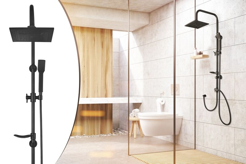 RVS Regendoucheset Lifa Living mat zwart of chroom