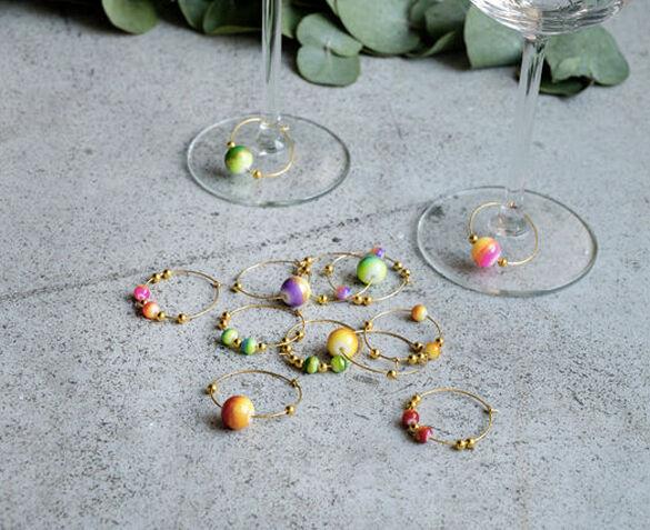 Set van 6 Wijnglasringen